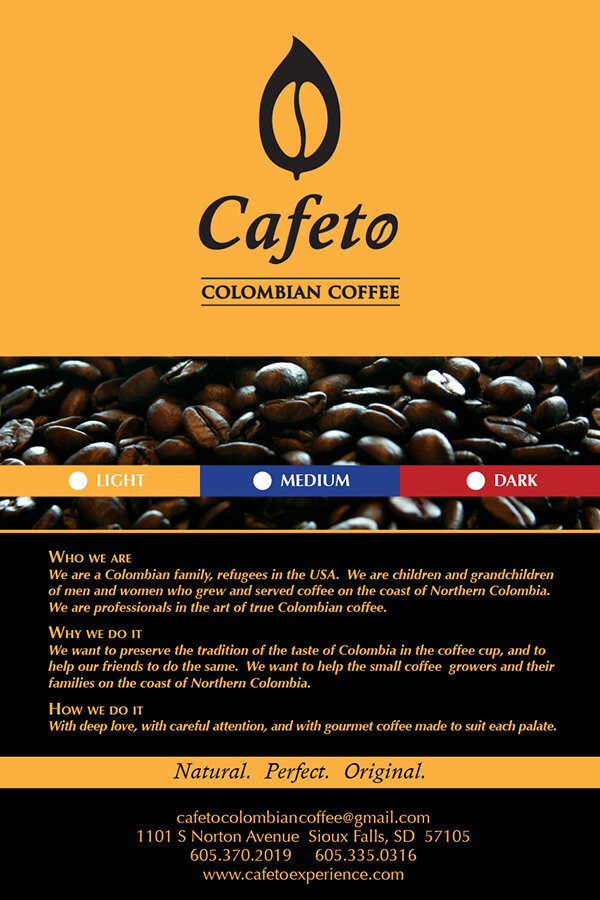 Cafeto Colombian Coffee, 1# bag label