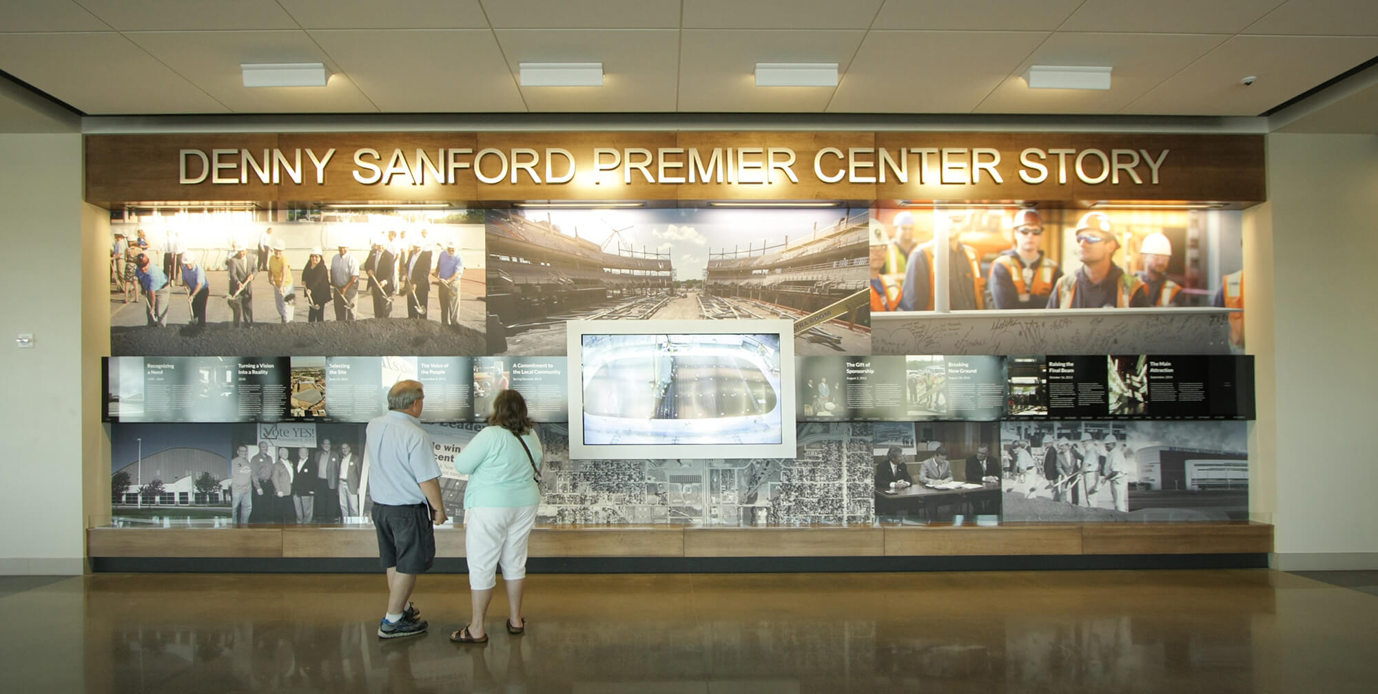 Denny Sanford Premier Center ribbon cutting–Timeline Display