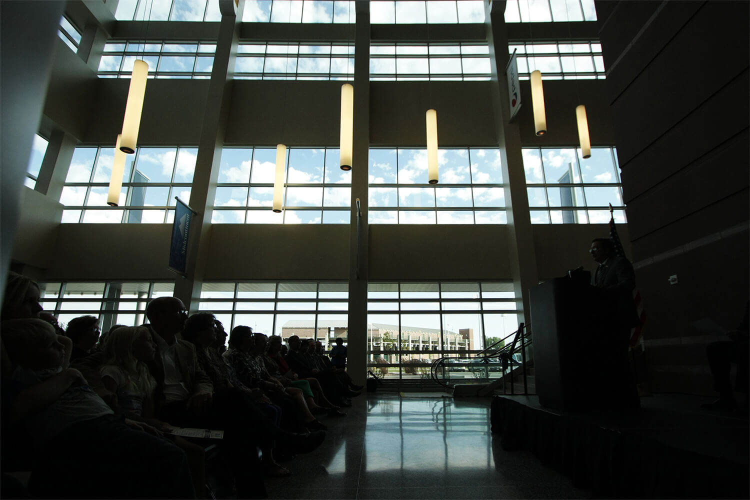 Denny Sanford Premier Center ribbon cutting–light in the window
