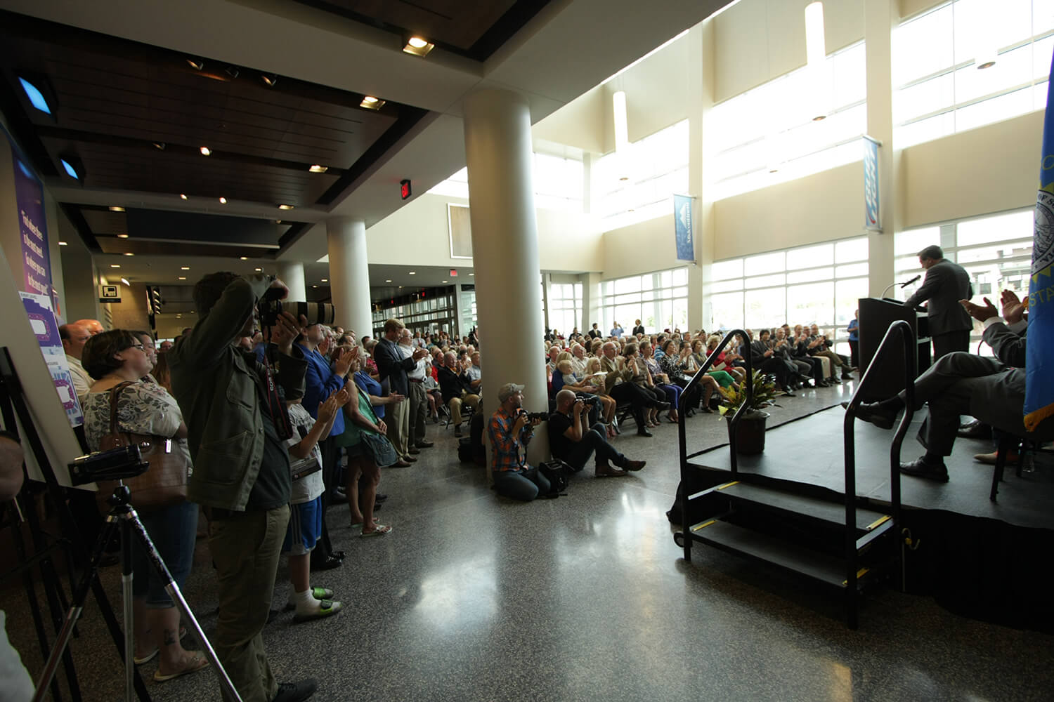 Denny Sanford Premier Center ribbon cutting–speaking to audience