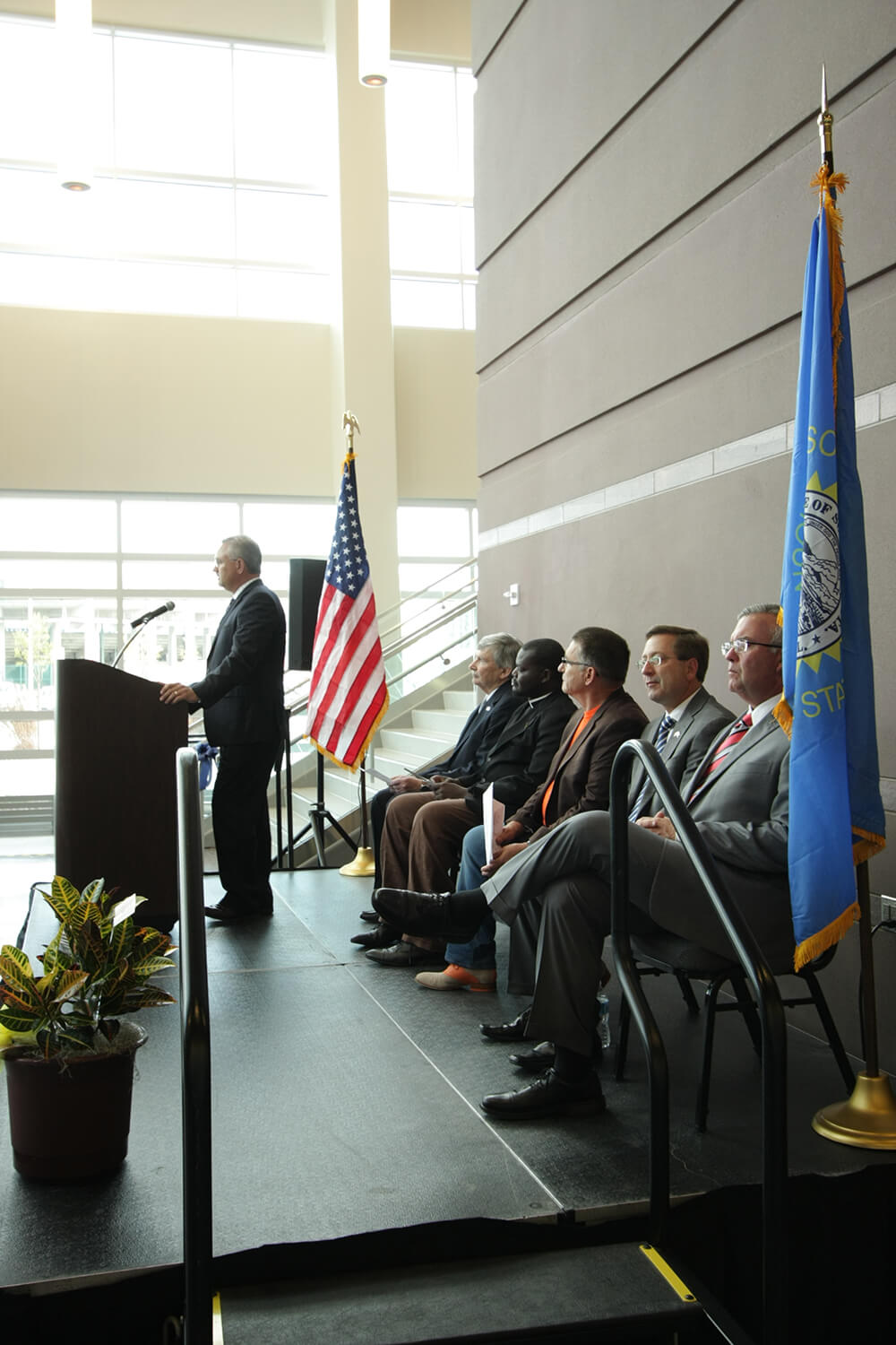 Denny Sanford Premier Center ribbon cutting-speaking