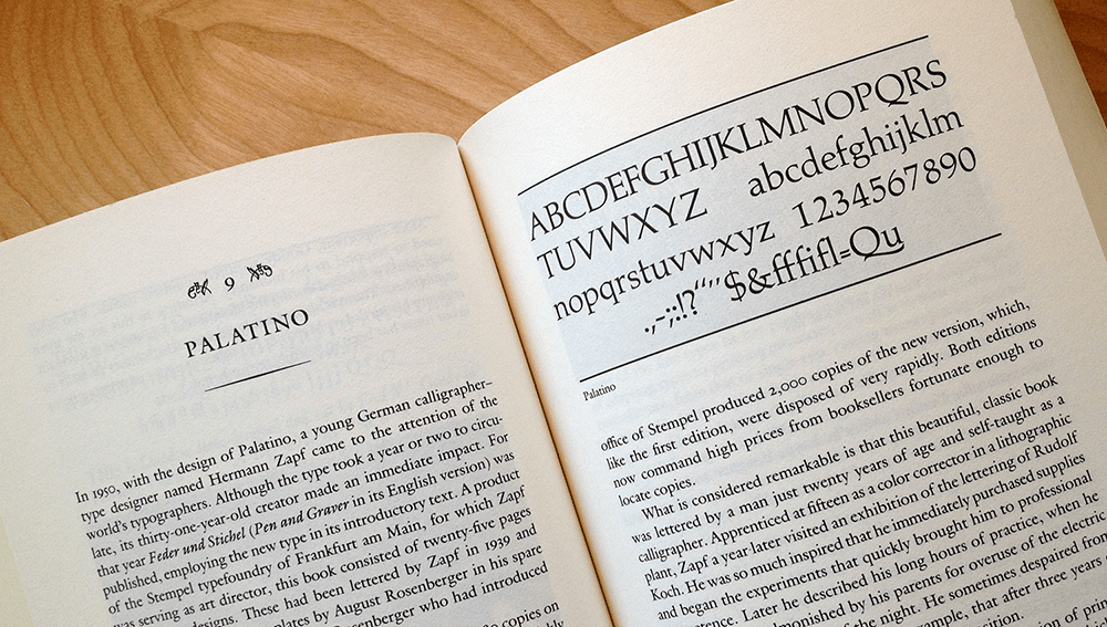 Palatino, from Anatomy of a Typeface, by Alexander Lawson