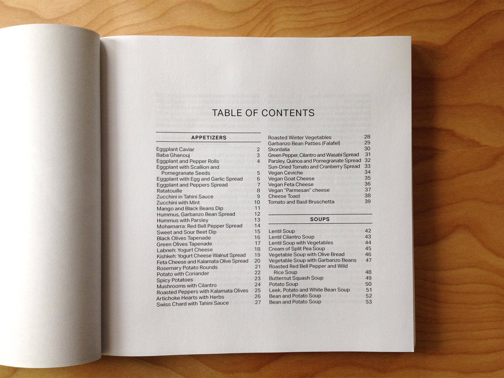 Sanaa cookbook design: Table of contents