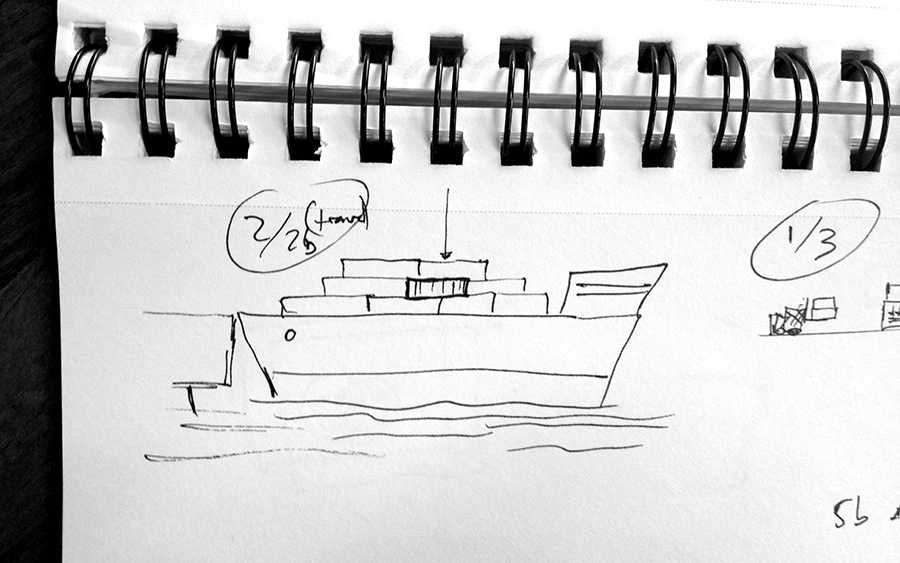 Passage, ship sketch