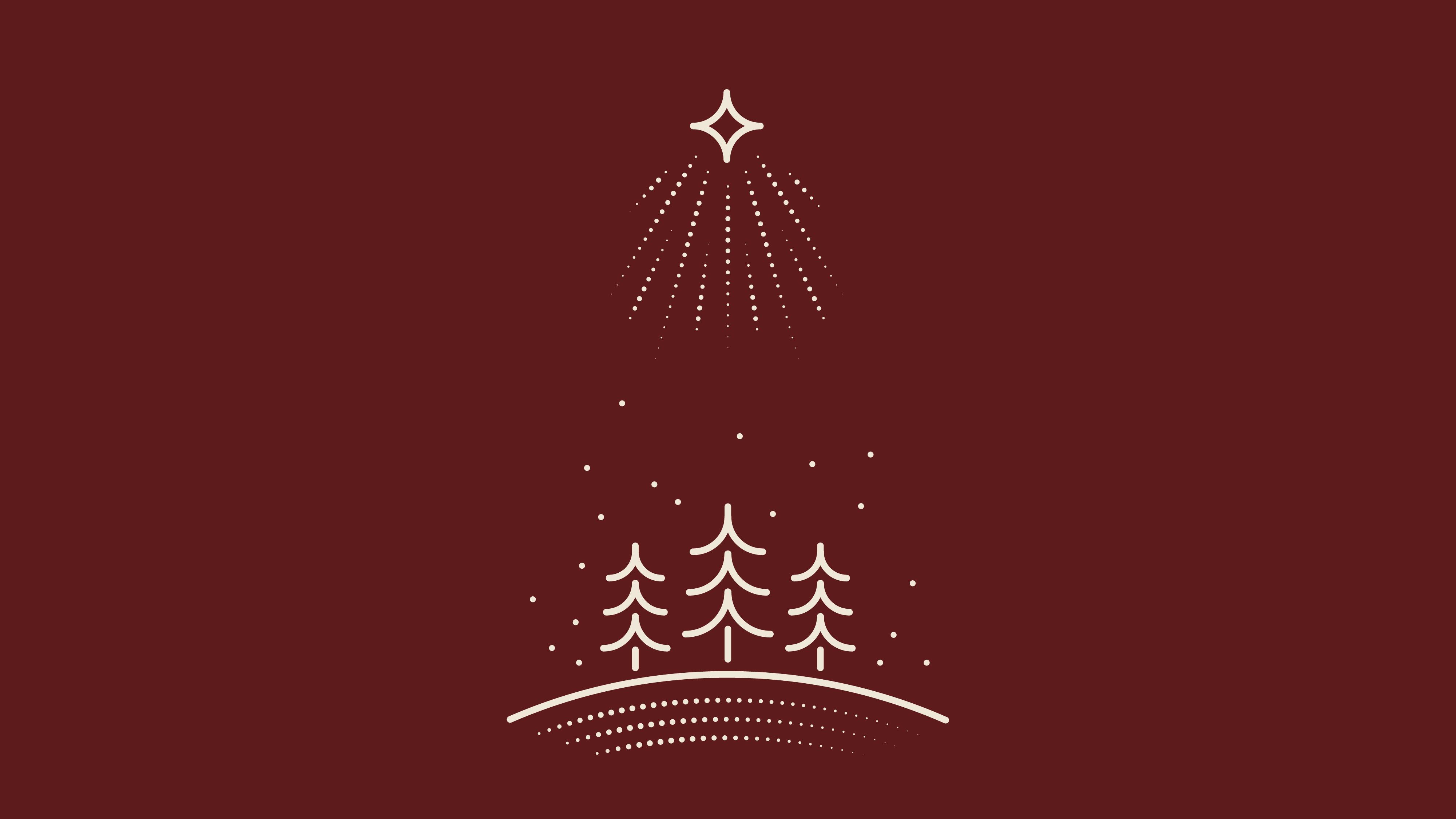 Star of Bethlehem over three trees